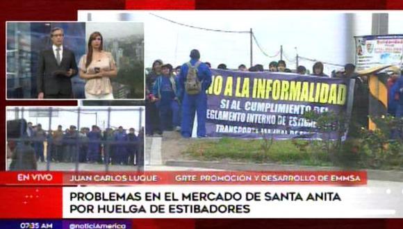 Decenas de estibadores que trabajan en el mercado entraron en huelga el lunes. (Foto: Captura/América Noticias)