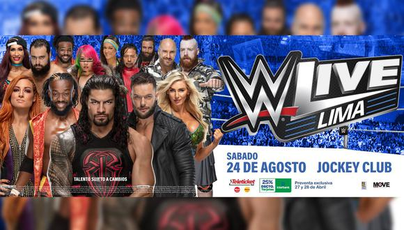 Roman Reigns, Finn Bálor, Charlotte Flair, Shinsuke Nakamura, Elias, Bayley y muchos más, estarán en el Jockey Plaza deleitando a su fanaticada.