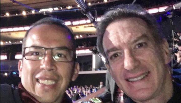 En la red social publicó una imagen en la que se le aprecia junto a Peredo aparentemente en una de sus tantas transmisiones juntos. (USI)