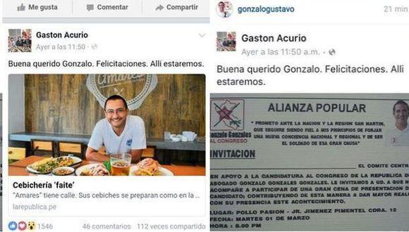 Gastón Acurio denunció que candidato de Alianza Popular se aprovechó de una publicación suya. (Captura)