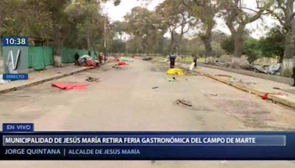 De la mañana fueron desmontados más de 50 stands que formaban parte de una feria. (Captura: Canal N)