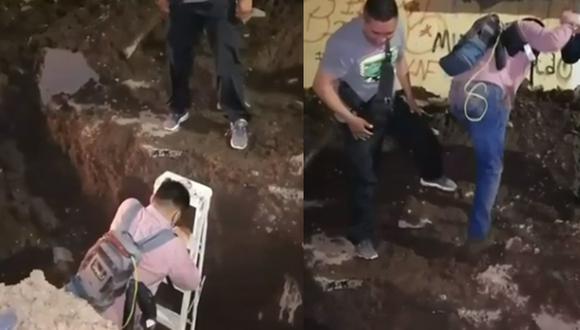 El camarógrafo fue rescatado por sus compañeros de producción tras caer al socavón.| Foto: Telediario