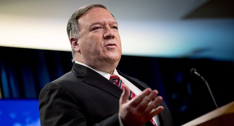 El secretario de Estado de los Estados Unidos, Mike Pompeo, habla en una conferencia de prensa el 29 de abril de 2020, en Washington, DC. (Andrew Harnik / POOL / AFP).