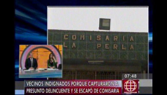 Vecinos de La Perla realizaron un plantón para quejarse sobre la inoperancia de la Policía de la zona. (América TV)