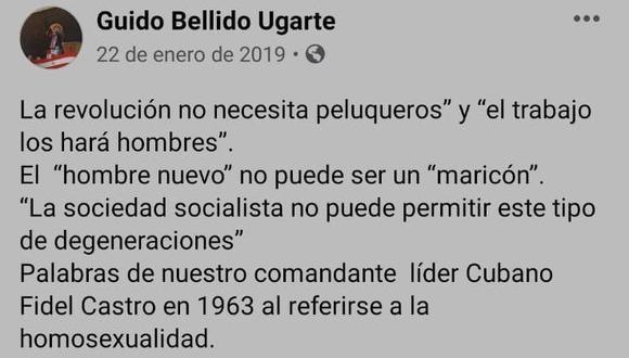 Guido Bellido en Facebook. (Foto: Captura)
