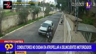Brasil: Conductores embisten a delincuentes en motocicleta para evitar su fuga