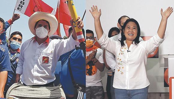 En disputa. Pedro Castillo y Keiko Fujimori buscan la Presidencia este 6 de junio. (GEC)
