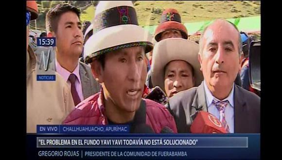 Gregorio Rojas se pronunció tras tener una reunión con miembros del Ejecutivo en el distrito de Challhuahuacho. (Canal N)