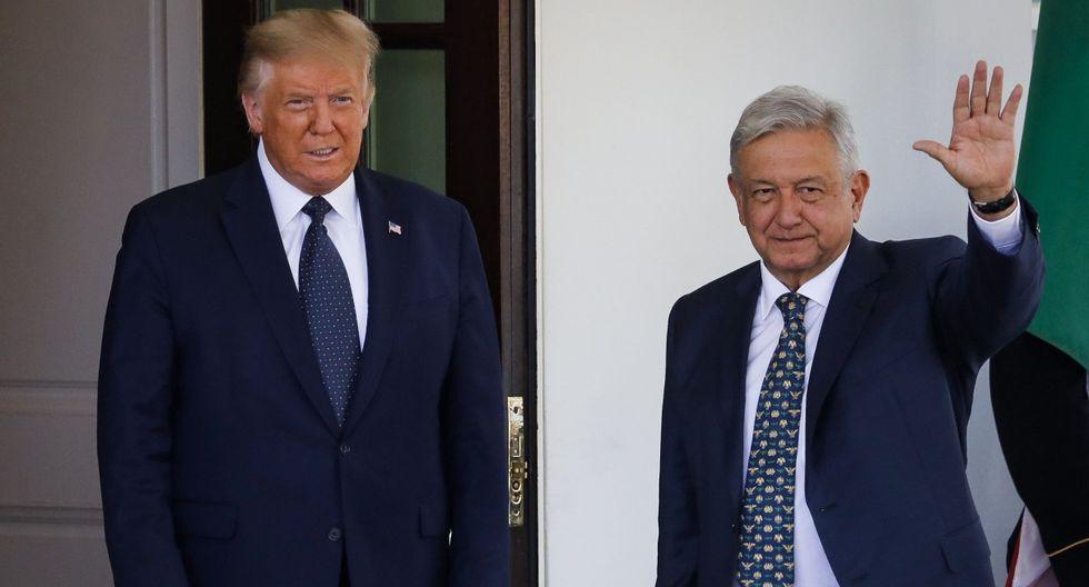 Donald Trump y Andrés Manuel López Obrador (AMLO) son vistos en el ala oeste de la Casa Blanca en Washington (Estados Unidos). (EFE/EPA/Al Drago / POOL).