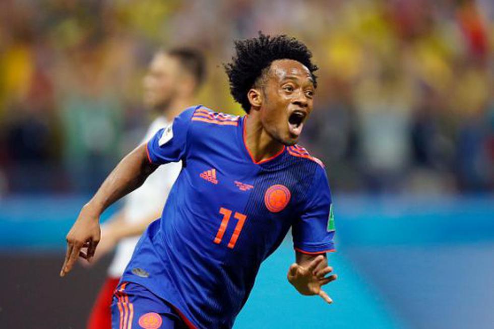 Juan Cuadrado anotó el tercel gol para Colombia vs. Polonia. (GETTY)