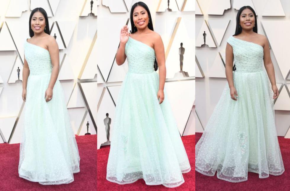 Yalitza Aparicio llegó a los premios Oscar y lució este vestido. (AFP)