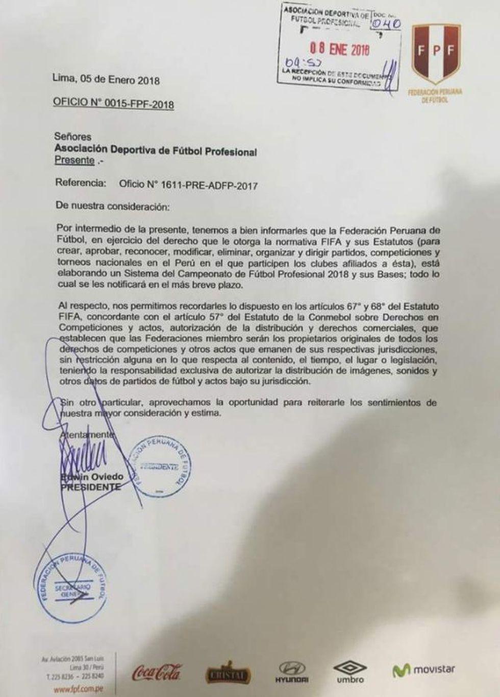 Oficio N° 0015-FPF-2018 (Twitter @nacionalperu)