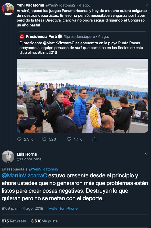 Extenista Lucha Horna le responde fuerte a congresista Yeni Vilcatoma.