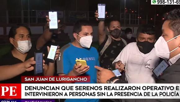 Los transeúntes denunciaron que fueron retenidos por serenos de San Juan de Lurigancho pese a que contaban con pase laboral. (Foto: América Noticias)