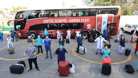 El traslado de los profesionales de salud fue posible gracias al convenio entre EsSalud, la Federación Peruana de Fútbol (FPF) y la empresa Derco.