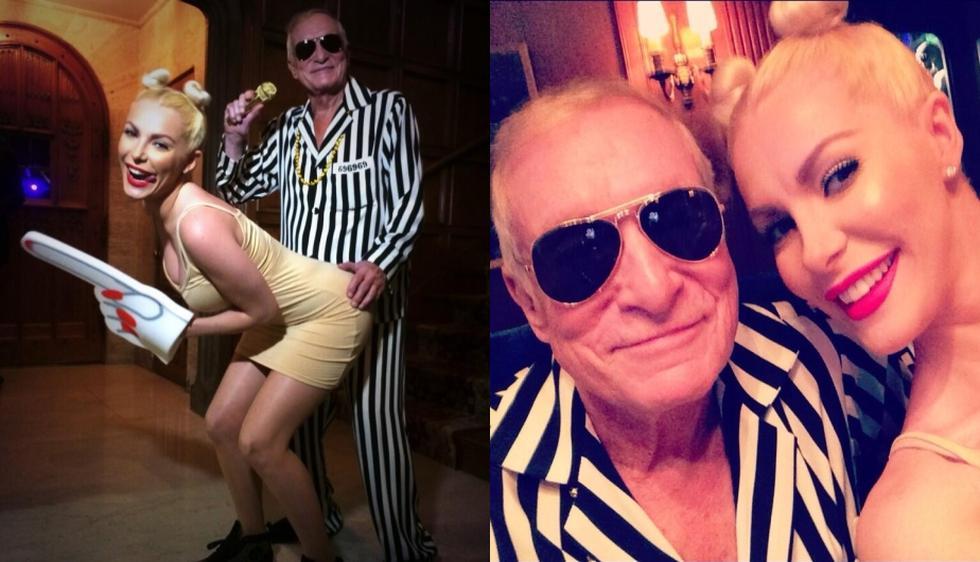 Hugh Hefner y su esposa, Crystal Harris, decidieron hacer una parodia de Robin Thicke y Miley Cyrus. (Twitter)