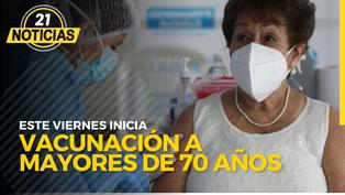 Este viernes inicia vacunación a mayores de 70 años