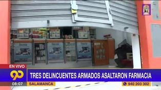 Delincuentes armados asaltaron farmacia ubicada a una cuadra de la comisaría de Salamanca