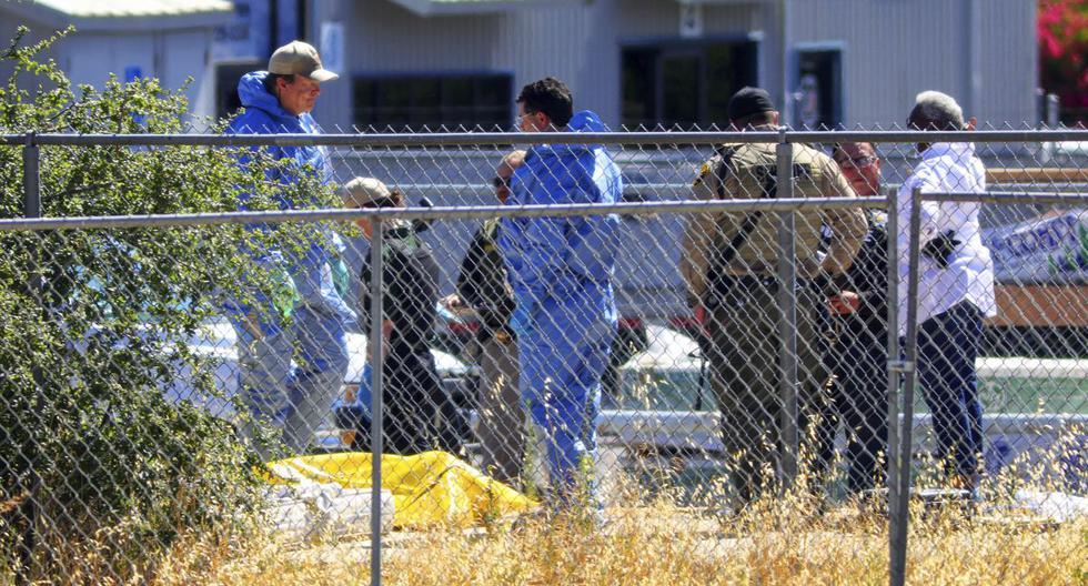 Investigadores de la oficina del Sheriff-Coronor del condado de San Luis Obispo y el Departamento de Policía de Paso Robles investigan un homicidio cerca de las vías del ferrocarril. (David Middlecamp/The Tribune of San Luis).