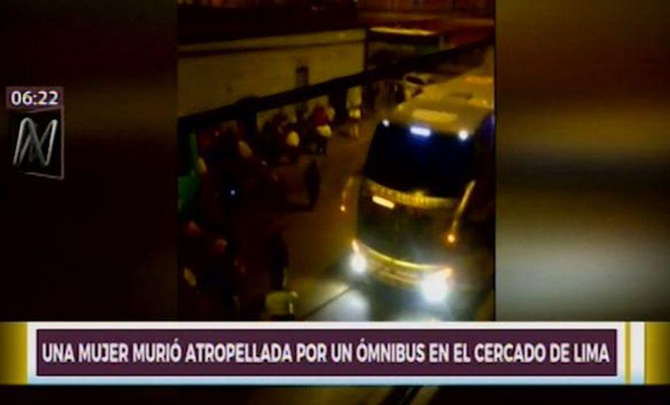 La mujer murió tras ser atropellada por ómnibus interprovincial en la cuadra 5 del jirón Leticia, Cercado de Lima. (Captura: Canal N)