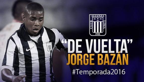 Alianza Lima confirma el fichaje de Jorge Bazán. (Facebook)