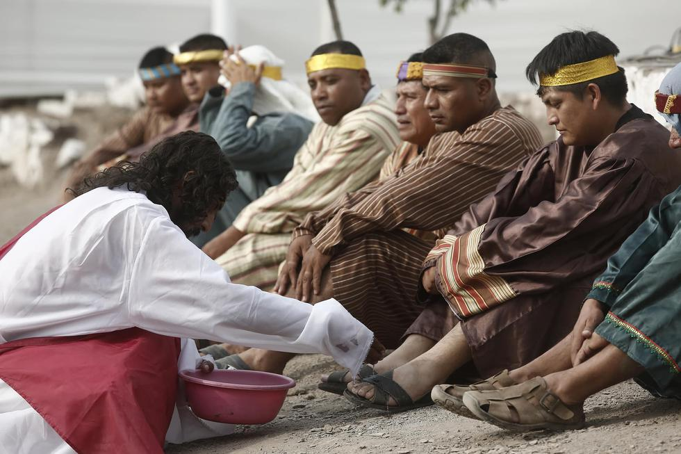 Semana Santa: El 'Cristo Cholo' de Comas escenificó la vida, pasión y muerte de Jesús. (CésarCampos/Perú21)