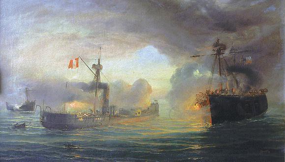 Combate naval de Angamos, óleo de Thomas Somerscales.