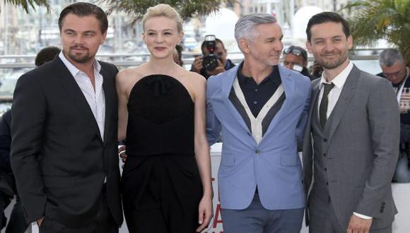 DiCaprio, Carey Mulligan, Baz Luhrmann y Tobey Maguire en la presentación de \'El gran Gatsby\'. (Reuters)