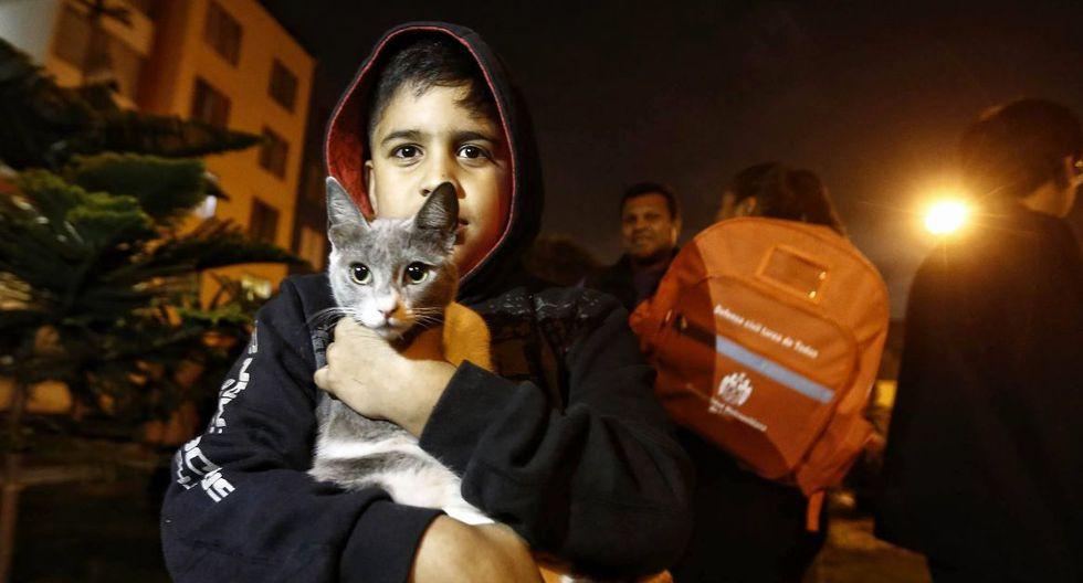Evacuación incluyó la práctica de la seguridad de las mascotas en caso de sismo. (Foto: Renzo Salazar)