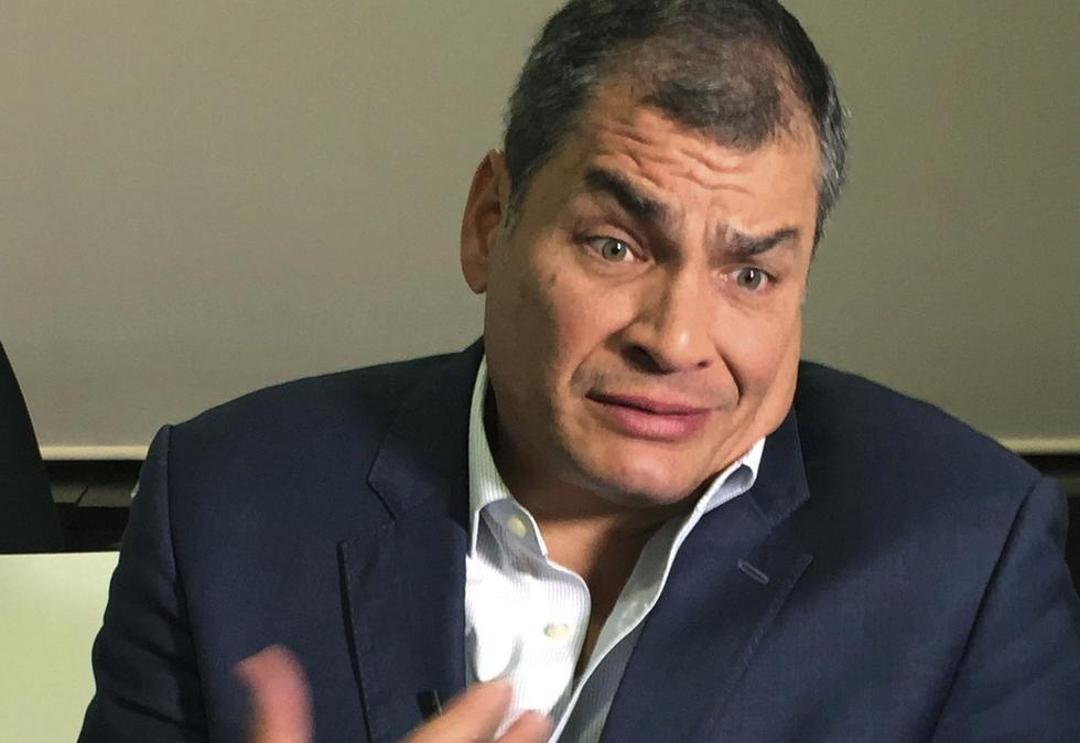 Ex presidente Rafael Correa en contra de sentencia de Sergio Glas. (AP)