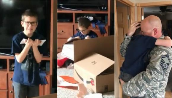 El pequeño Ronin Coffelt no se esperaba semejante sorpresa por su cumpleaños (Foto: YouTube)