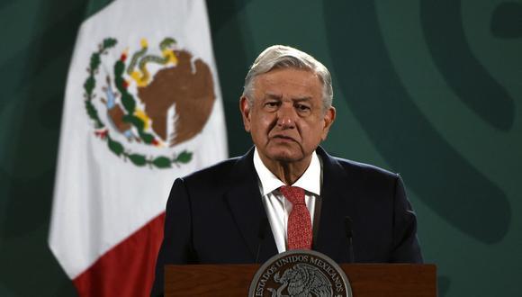 El presidente de México, Andrés Manuel López Obrador (AMLO), ofrece una conferencia de prensa en el Palacio Nacional en la Ciudad de México. (ALFREDO ESTRELLA / AE / AFP).