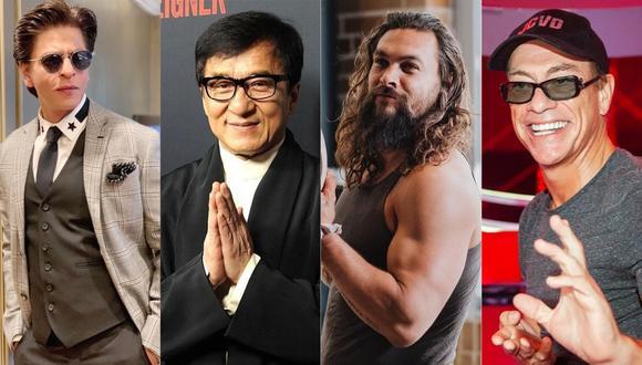 Shahrukh Khan, Jean Claude Van Damme, Jason Momoa y Jackie Chan posan juntos y foto emociona a sus fans  (Foto: Instagram)