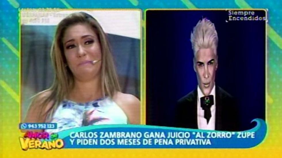 Tilza Lozano lloró en pleno programa en vivo por su amigo 'Zorro' Supe. (Latina)