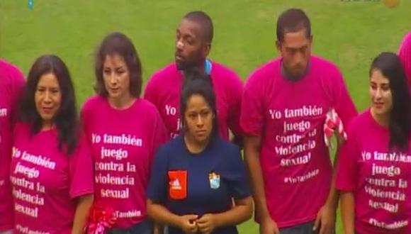 Universitario vs. Sporting Cristal: Clásico vistió la camiseta contra la violencia sexual. (Captura)