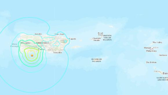 Sismo de magnitud 5,9 sacude Puerto Rico tras horas de varias réplicas. (USGS)
