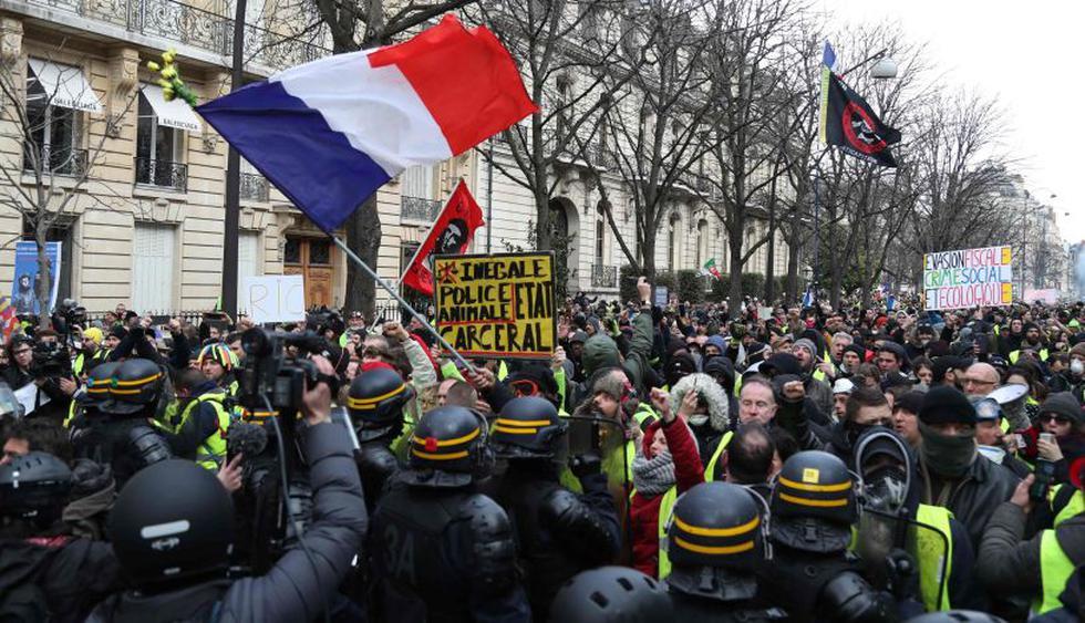 """""""Chalecos amarillos"""" toman de nuevo las calles en toda Francia. (Foto: AFP)"""