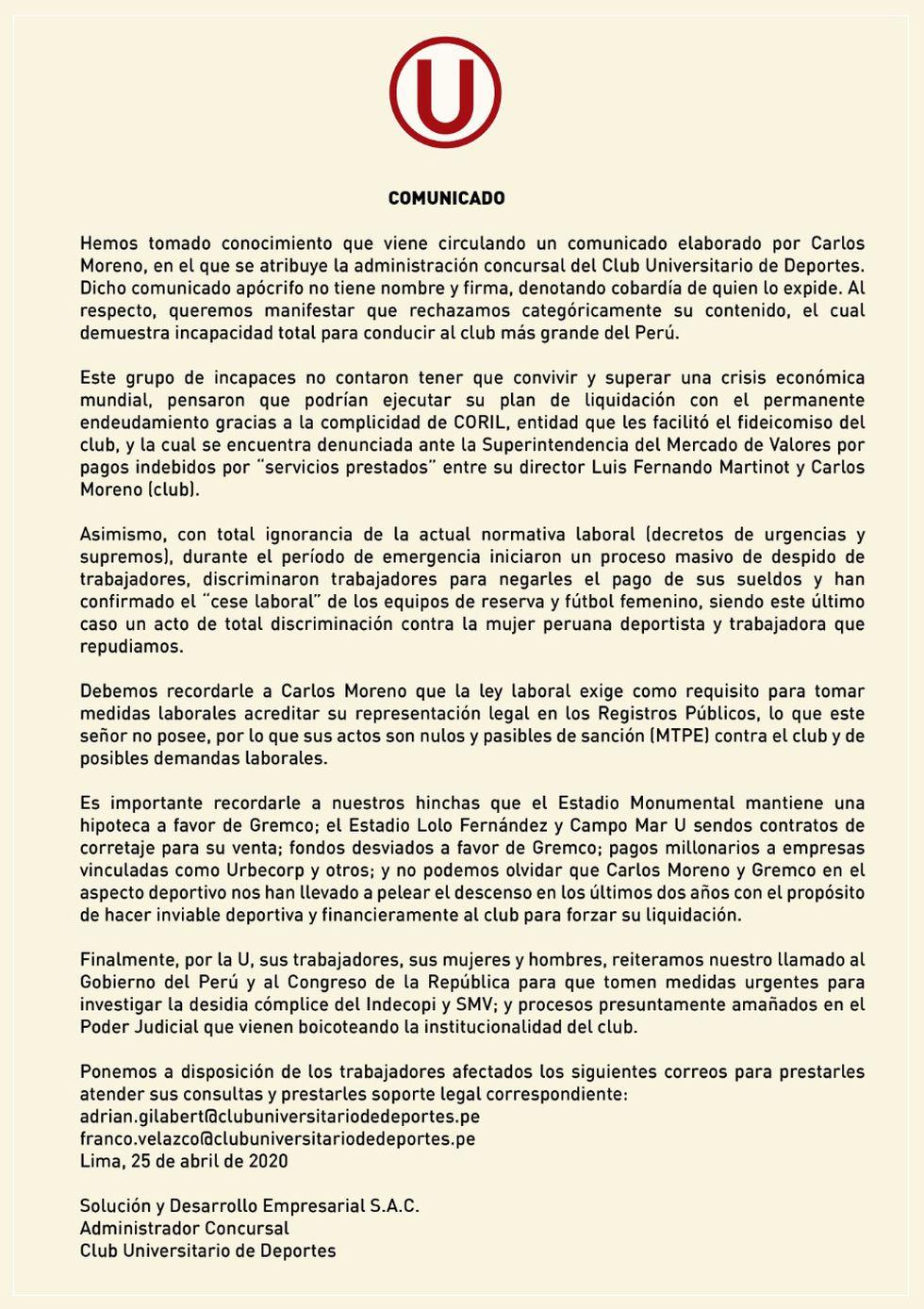 El comunicado de la administración de Raúl Leguía.