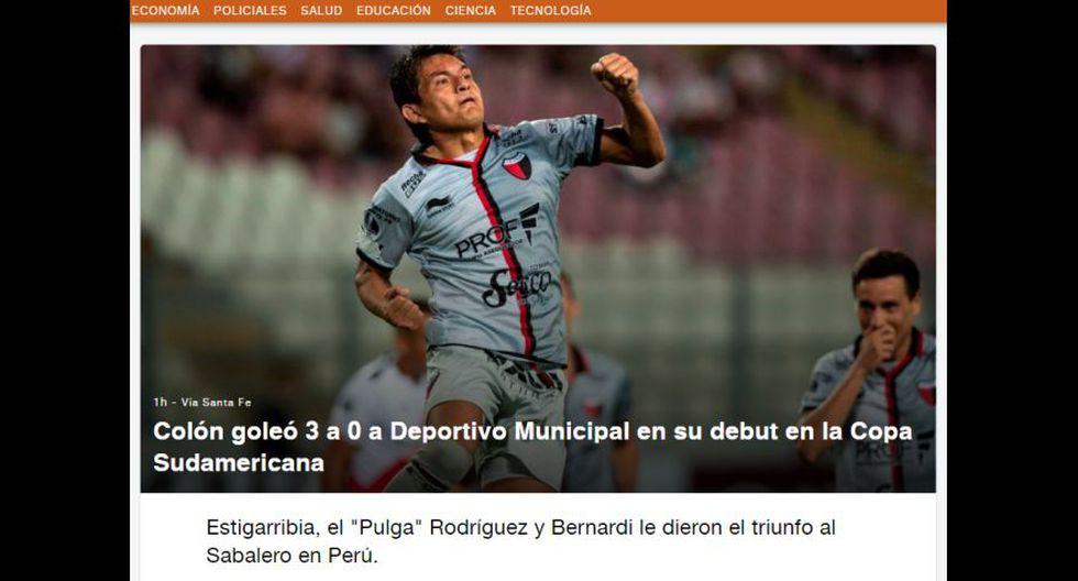 Así informaron los medios internacionales tras la goleada de Colón a Deportivo Municipal en la Copa Sudamericana 2019.