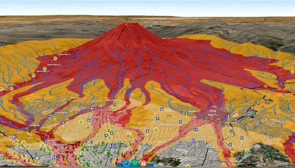 Arequipa: Mapa en 3D muestra las zonas que serían devastadas en una posible erupción del Misti. (Foto: Ingemmet)