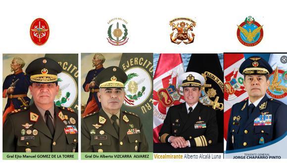 Altos cargos de las Fuerzas Armadas fueron nombrados por el gobierno de Pedro Castillo (Difusión).