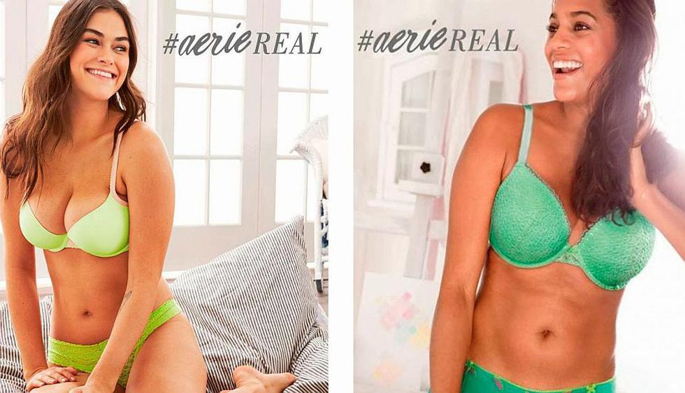 Modelos lucen rollitos y marcas en anuncias de la línea. (@Aerie en Twitter)