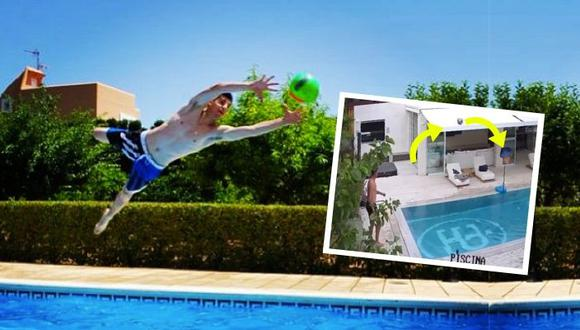 Arquero del Real Madrid  demostró que  también es muy talentoso con los pies en esta fantástica jugada en su piscina.