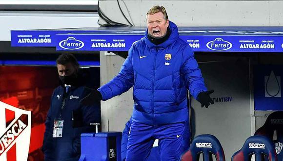 La molestia de Ronald Koeman por la preguntas sobre su futuro en Barcelona. (Foto: AFP)
