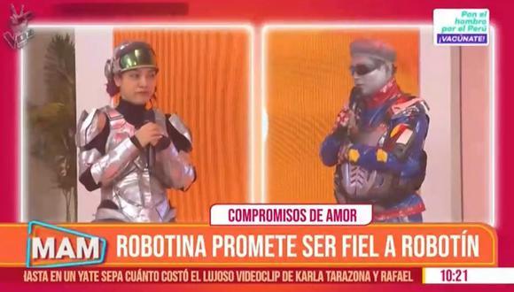 """'Robotín' y 'Robotina' lloran en vivo en """"Mujeres Al Mando"""" al hacerse promesas de amor. (Foto: Captura)"""