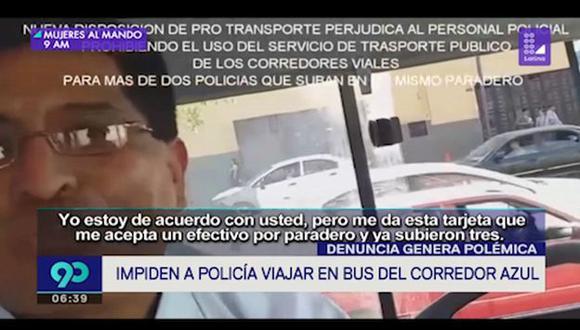 Un agente PNP fue impedido de ingresar a un bus del Corredor Azul. Según el chofer, medida responde a una disposición de Pro Transporte. (Captura: Latina)