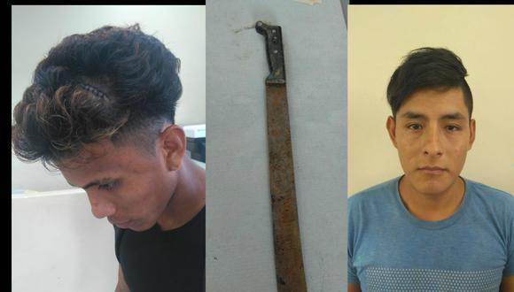 Ucayali: El agraviado Paolo Moena, el arma blanca incautada, y el atacante Rubén Salas. (GEC)