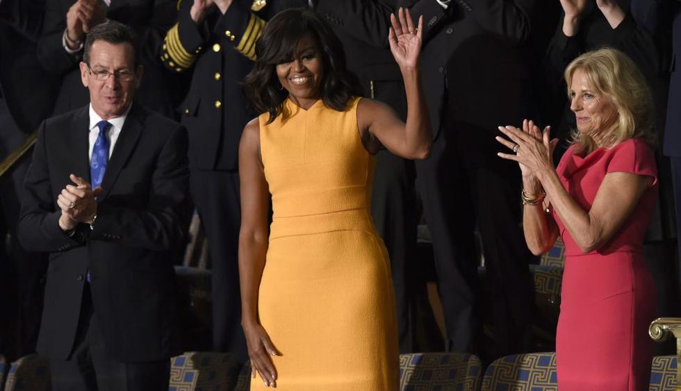 Michelle Obama: Vestido amarillo que utilizó durante el discurso del estado de la Unión se agotó. (AFP)