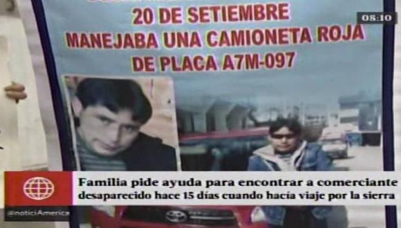 La familia teme que haya sido secuestrado. (Captura de América TV)
