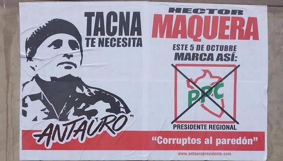 Candidato pepecista insiste en promocionarse con rostro de líder etnocacerista. (RPP)